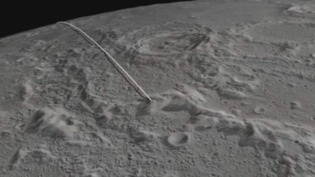 A still from Nasa's video model of the intended crash