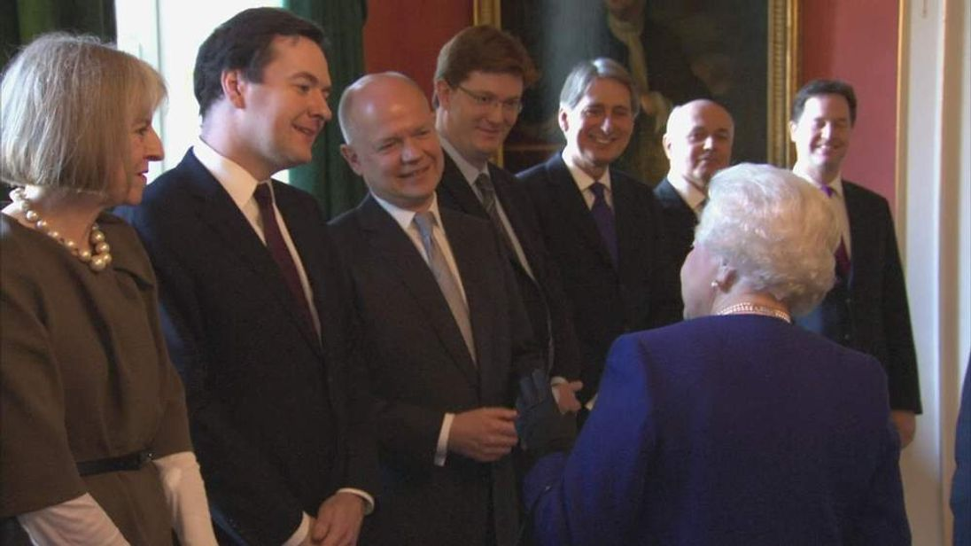Queen chatting to George Osborne