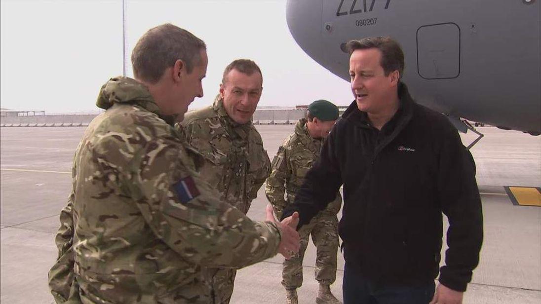 David Cameron meeting troops