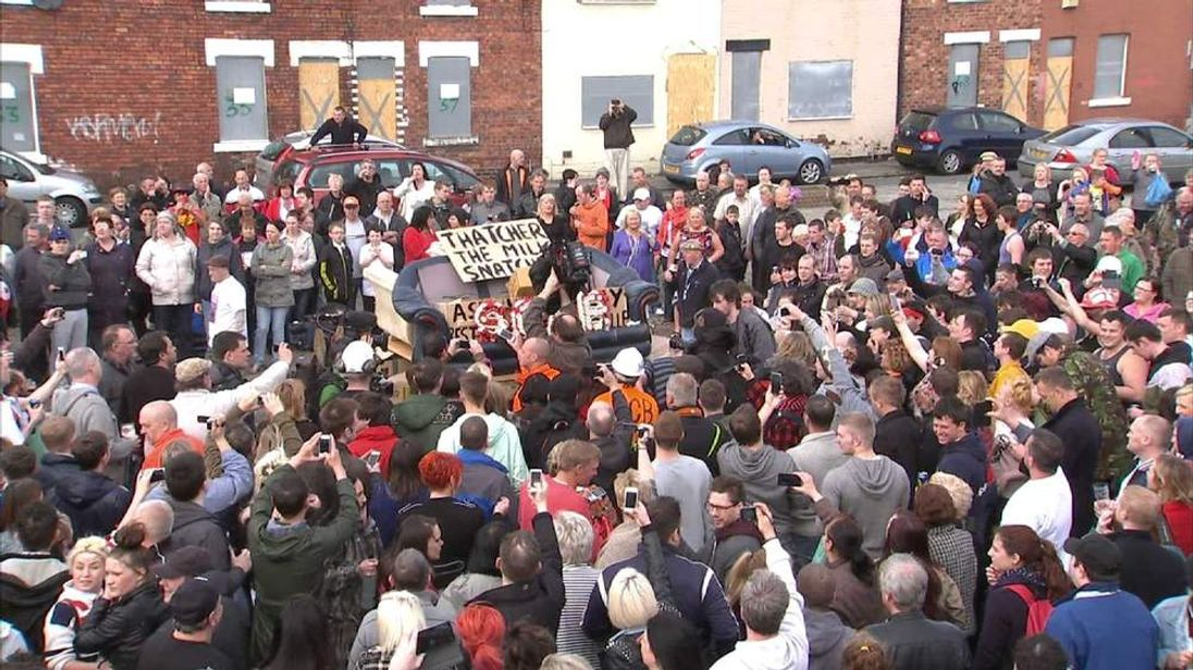 Protesters in Goldthorpe, South Yorkshire