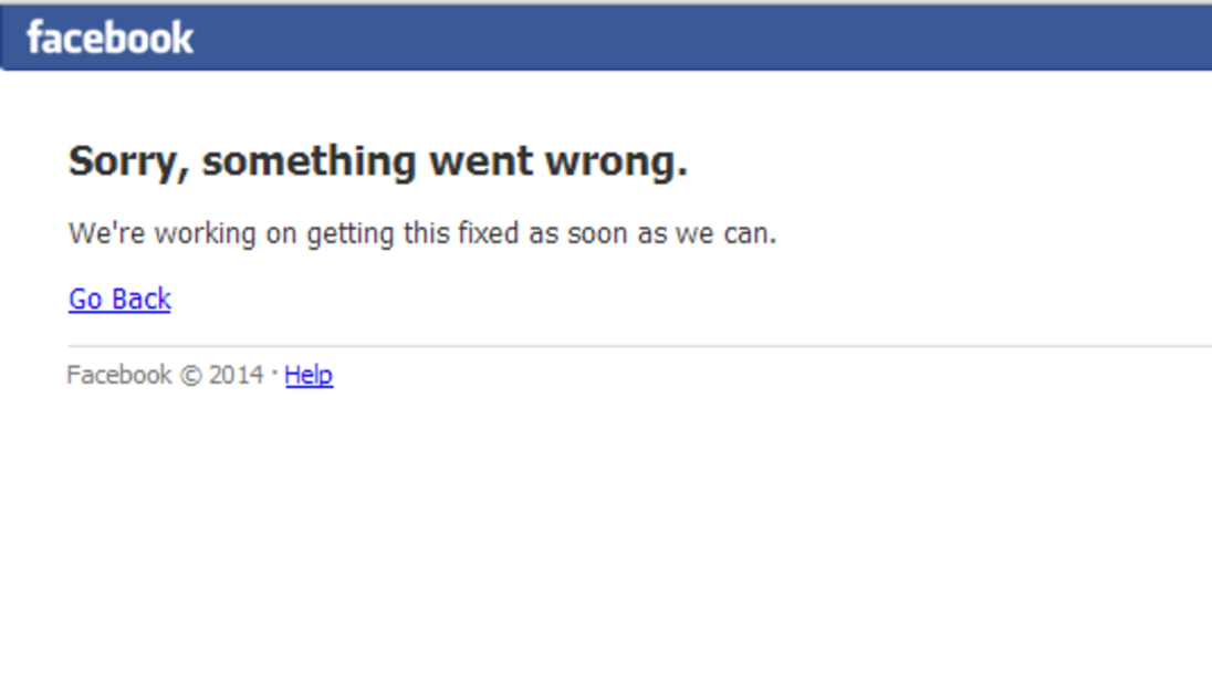 Facebook error screenshot