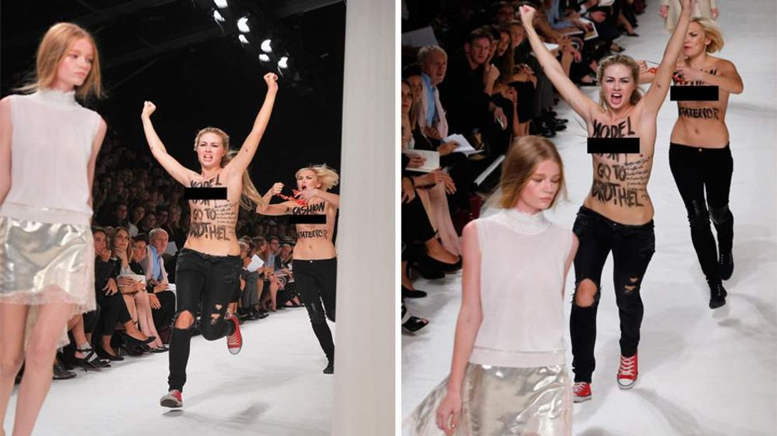 British model Hollie-May Saker is approached by topless member of Femen
