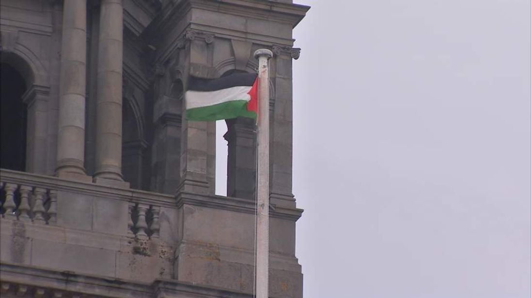 The Palestinian flag flying outside Glasgow City Hall