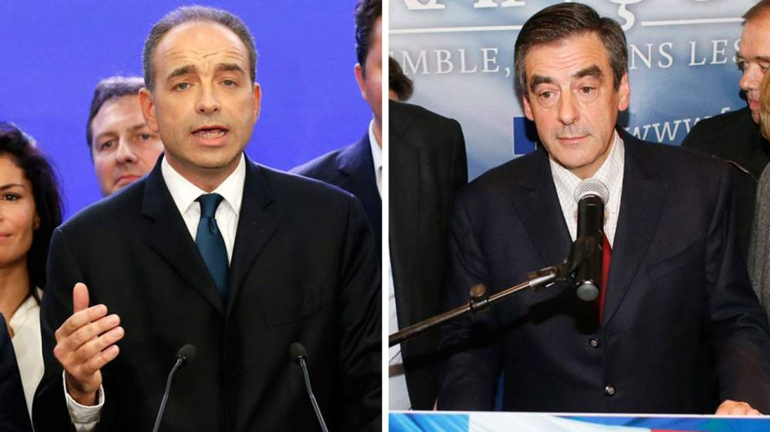 Jean-Francois Cope (L) and Francois Fillon (R)