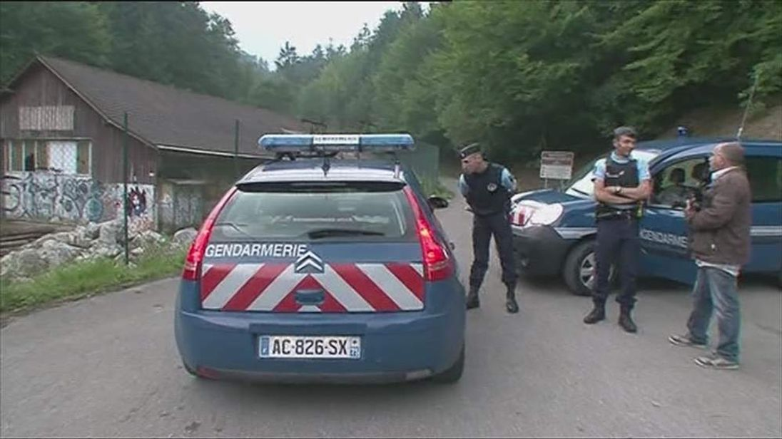 French police at scene of shooting involving British car near Chevaline