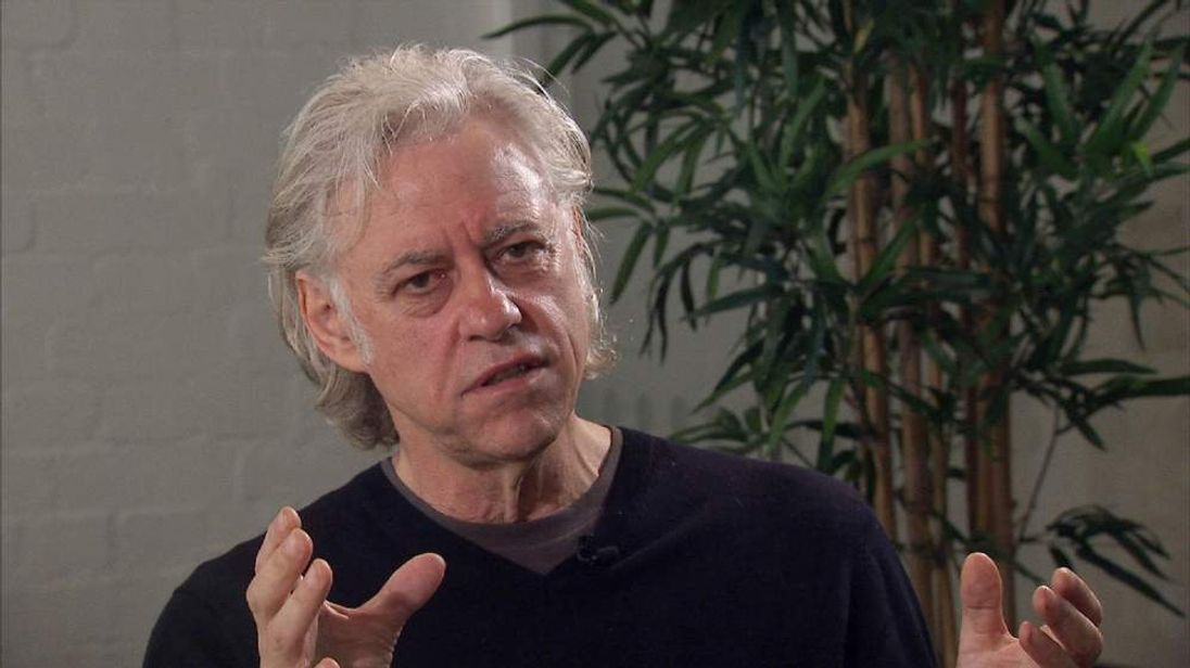 Bob Geldof speaking to Sky