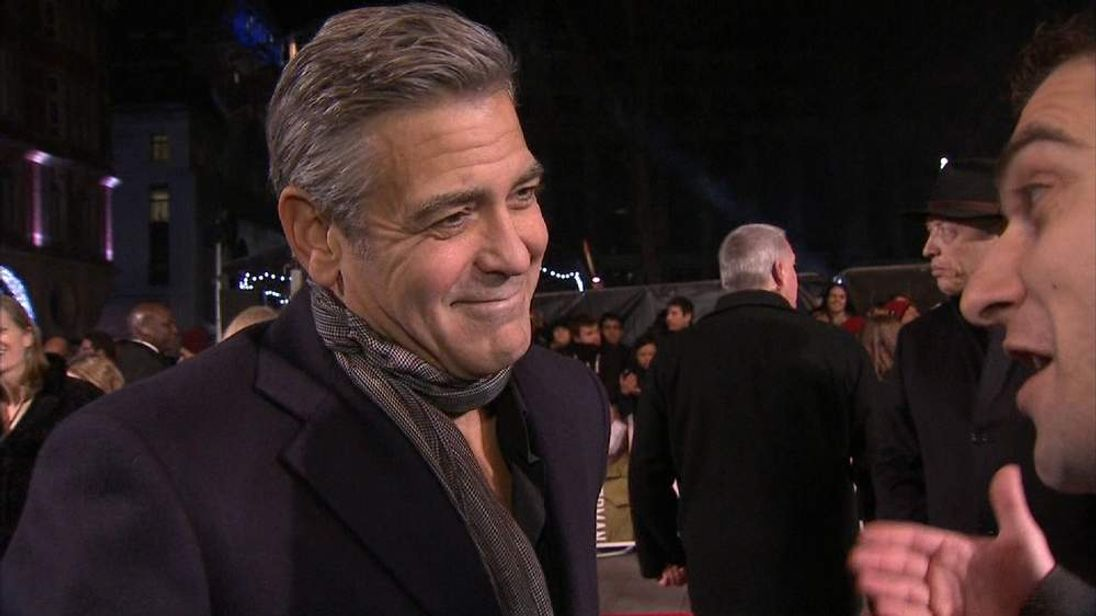 George Clooney attends London premiere of The Monuments Men