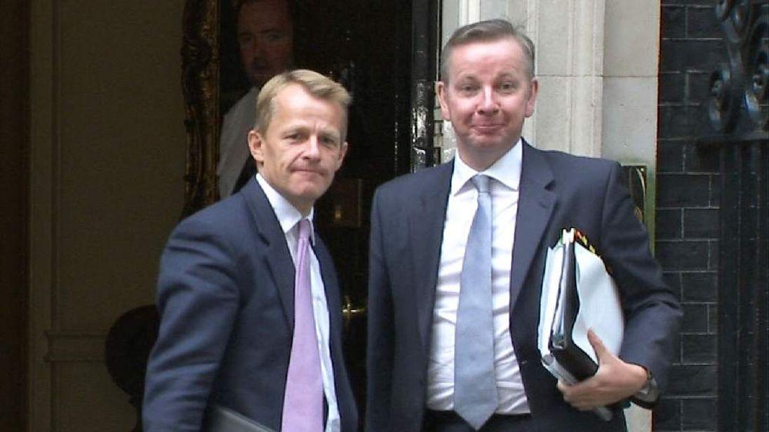 David Laws and Michael Gove at Downing Street