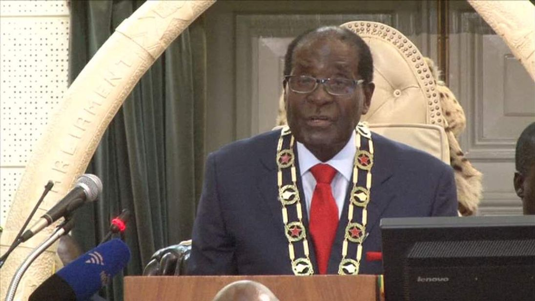 An image of Robert Mugabe giving his state of the nation address
