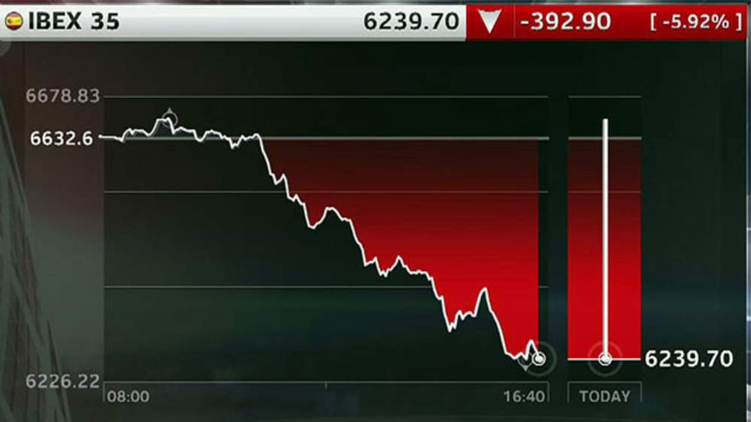 Spain's Ibex stock market share price drop on July 20, 2012 after the 100bn euro bank bailout