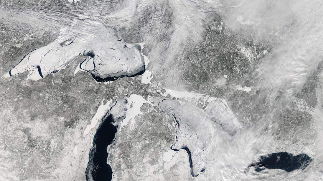 America's Great Lakes are frozen by the polar vortex