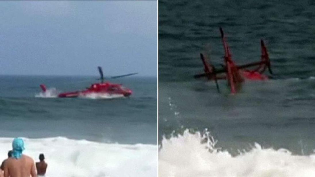Helicopter crashes into the sea off Brazil coast.