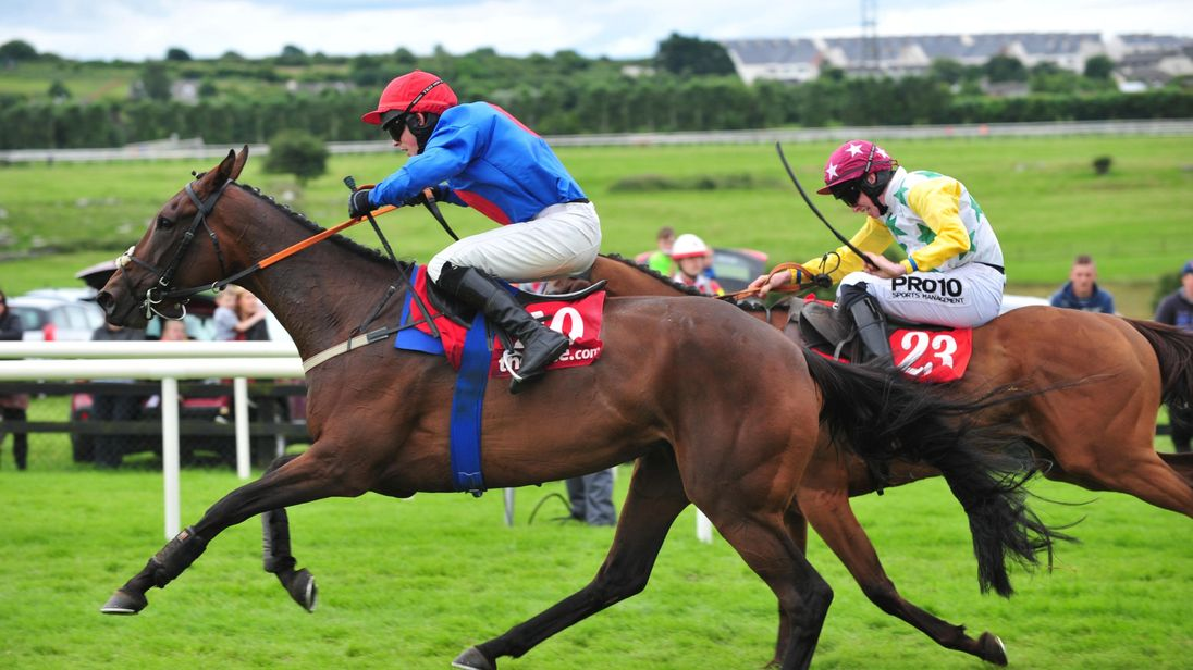 Plain Talking ridden by Brien Kane (left) before winning the TheTote.com Handicap Hurdle on the third day of the Galway Festival.