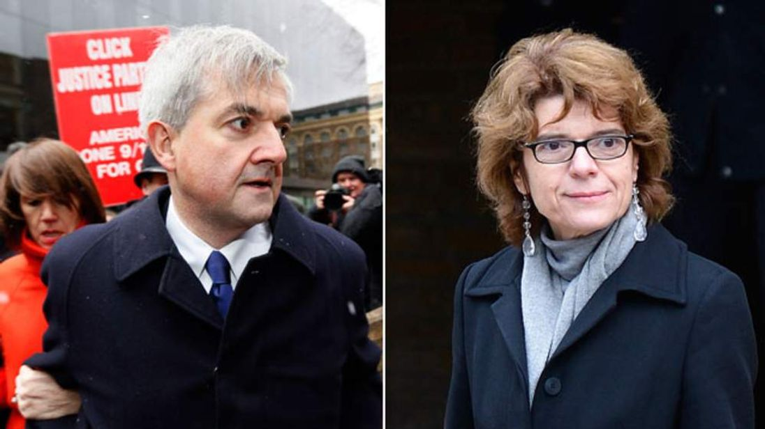 Chris Huhne and Vicky Pryce arriving separately at court