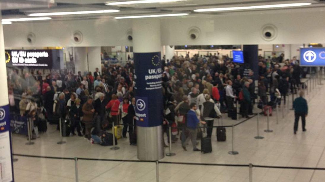 Long queues at Gatwick Aiport