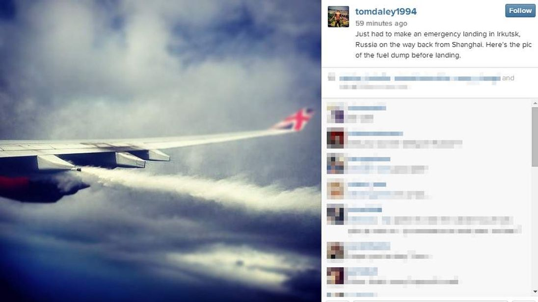 An Instagram image posted by Tom Daley of his plane dumping fuel before an emergency landing