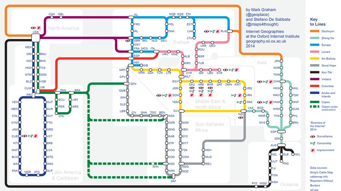 The TubeStyle Map Of The Internets Backbone - Us backbone map