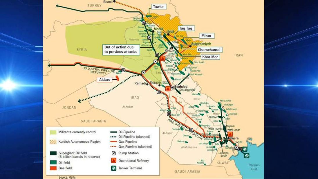 Map of Iraq's oil and gas network