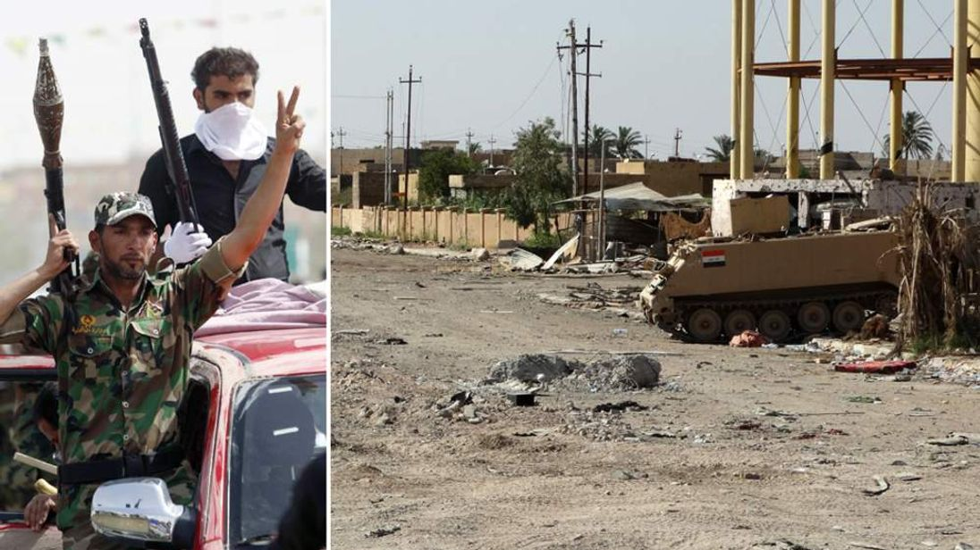 Shia fighters parade through Karbala and a destroyed street in Ramadi