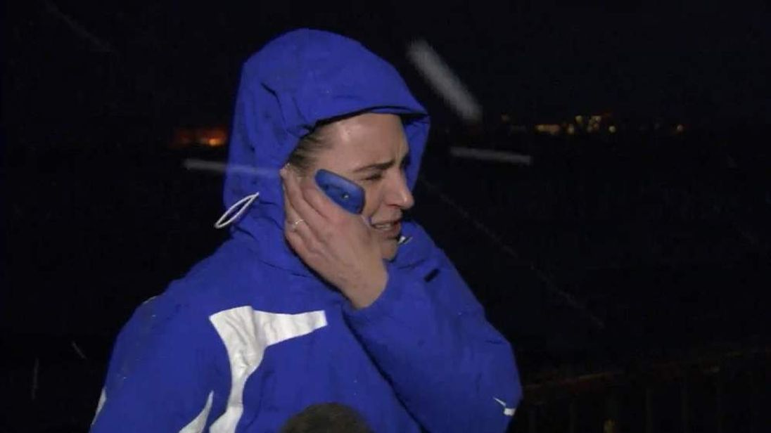 Sky's Isabel Webster caught in hailstorm