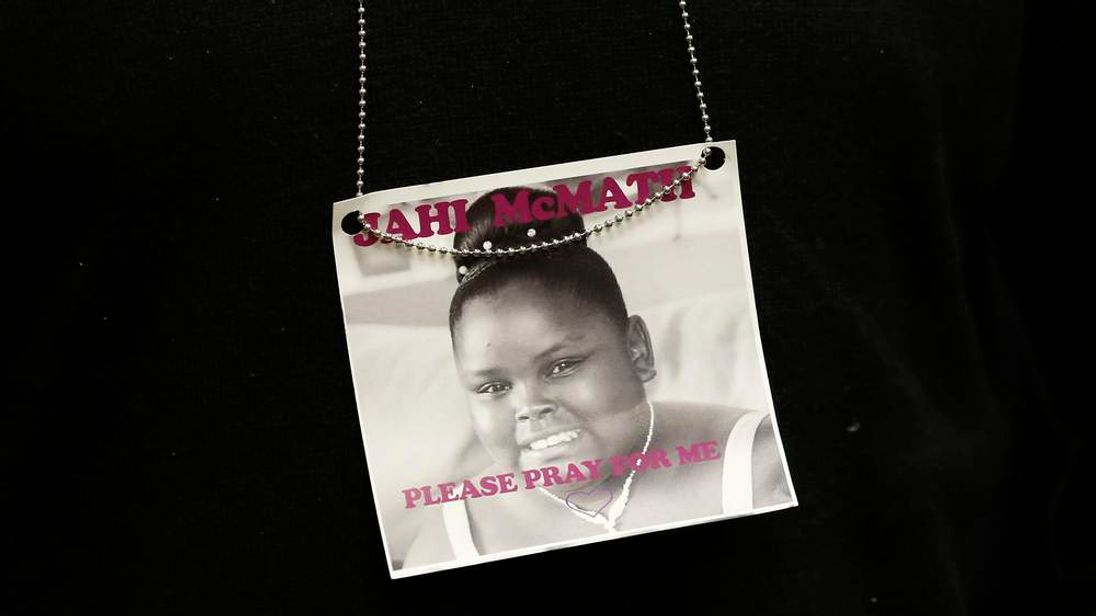 A photograph of 13-year-old Jahi McMath