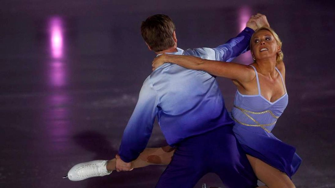 British ice skating pair Torvill and Dean, Jayne Torvill and Christopher Dean, perform during a show in Sarajevo