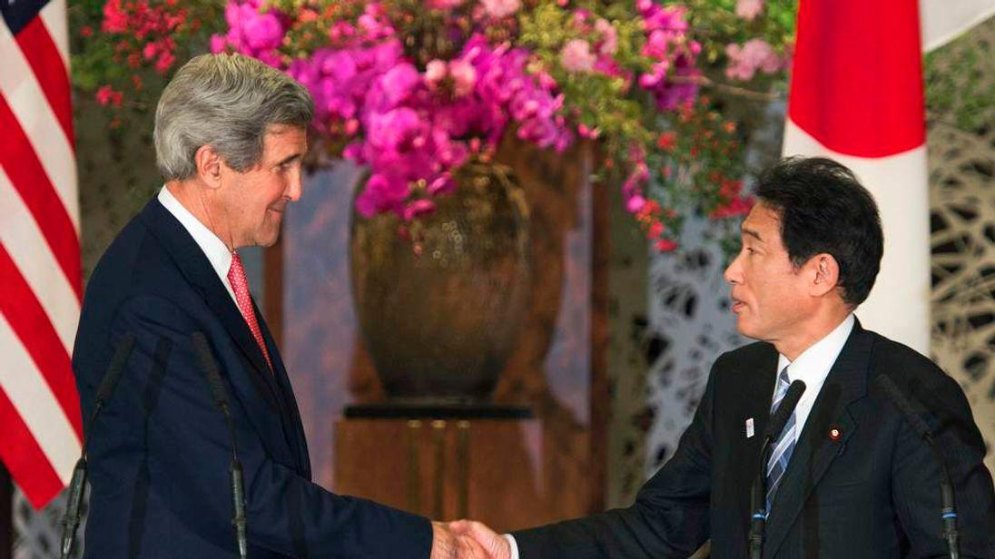 John Kerry and Fumio Kishida in Tokyo