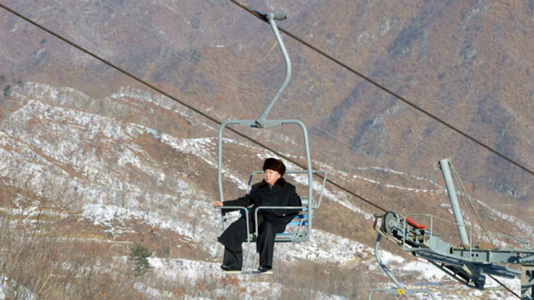 Kim Jong-Un on a ski-lift at Masik, North Korea's first.