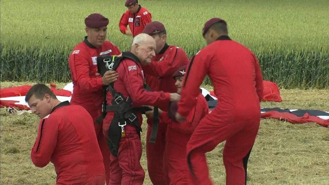 Jock Hutton after his parachute jump