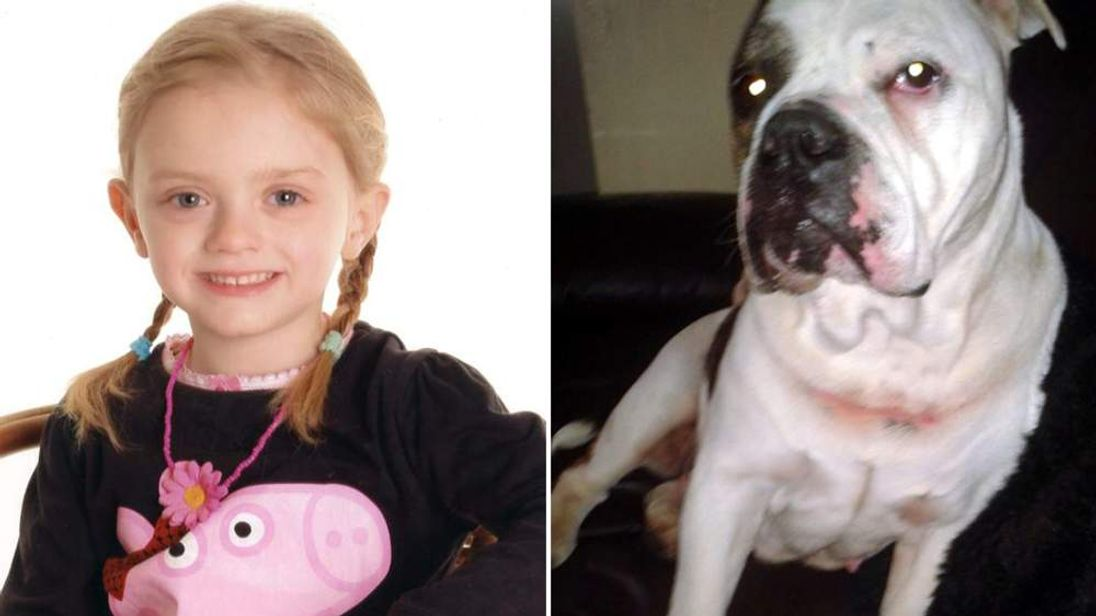 A composite photo of Lexi Branson and the dog that mauled her to death