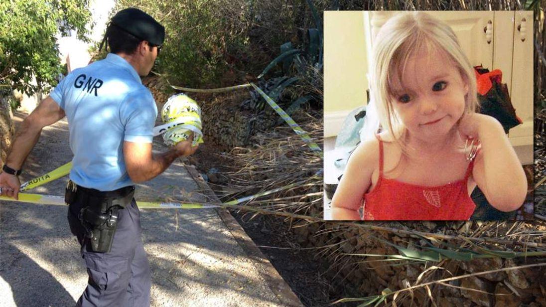 Police search an area of Praia da Luz for missing Madeleine McCann