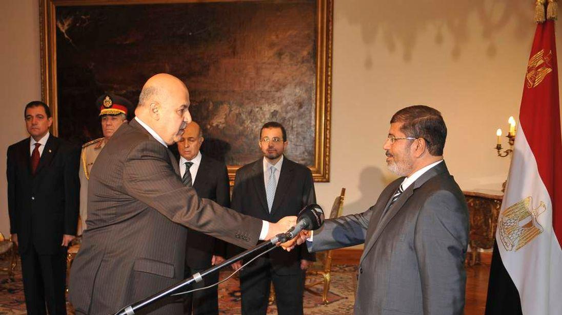 Egypt's President Mohamed Morsi and Vice-President, Judge Mahmoud Mekki
