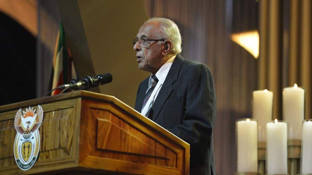 Mandela's former fellow prisoner Ahmed Kathrada gave a moving speech