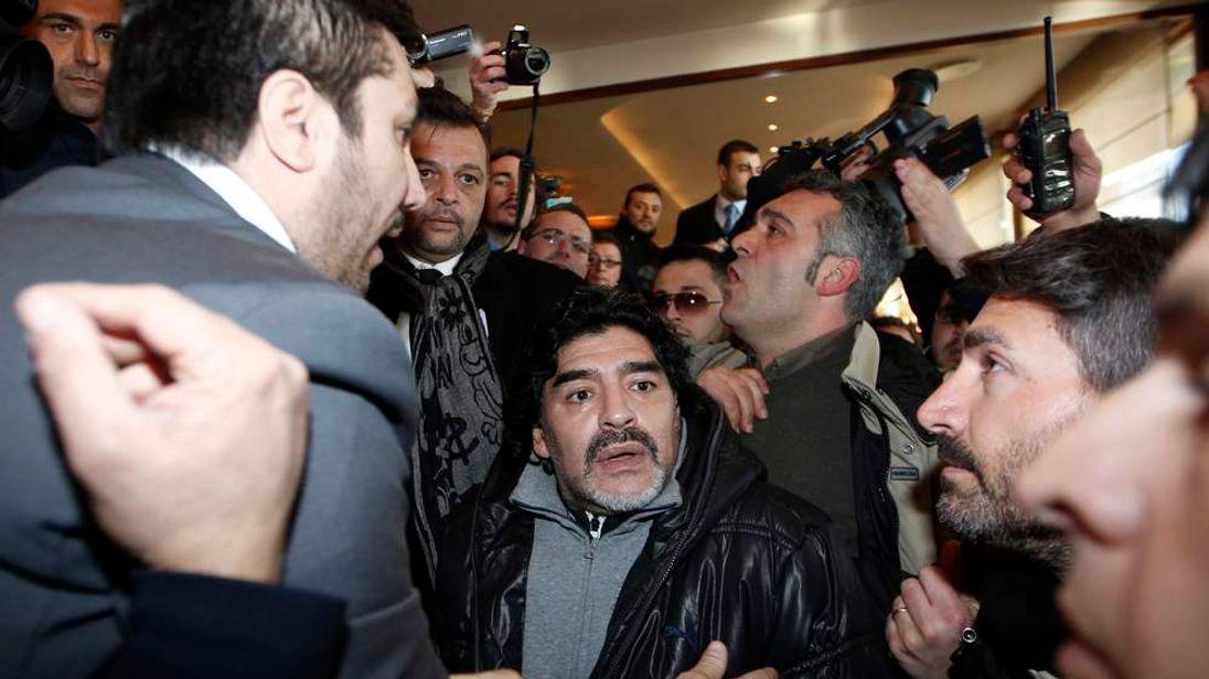 Argentine former soccer star Maradona arrives in Naples