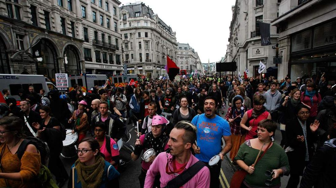 Families And Members Of The TUC Demonstrate Against Austerity Cuts