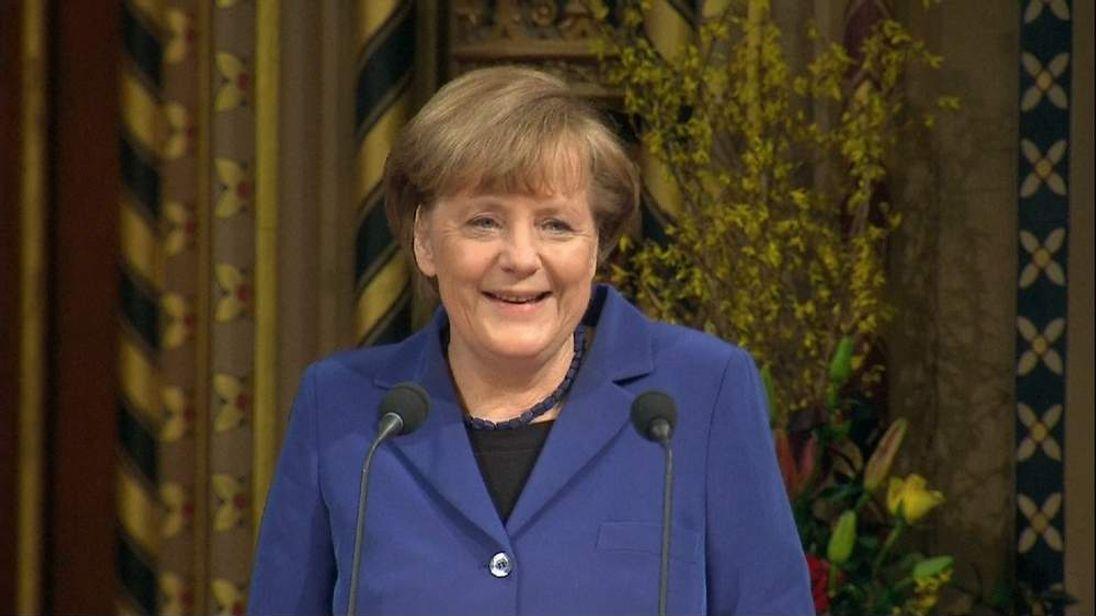 German Chancellor Angela Merkel addresses Parliament