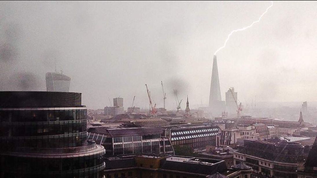 The Shard is struck by lightning in this image taken by Michael Hoskinson from @aiaworldwide