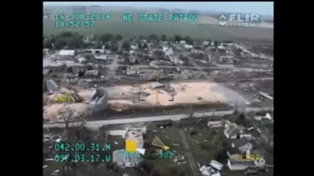 Aerial footage of Nebraska tornado aftermath