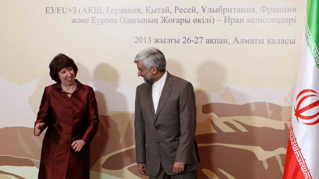 Catherine Ashton and Saeed Jalili