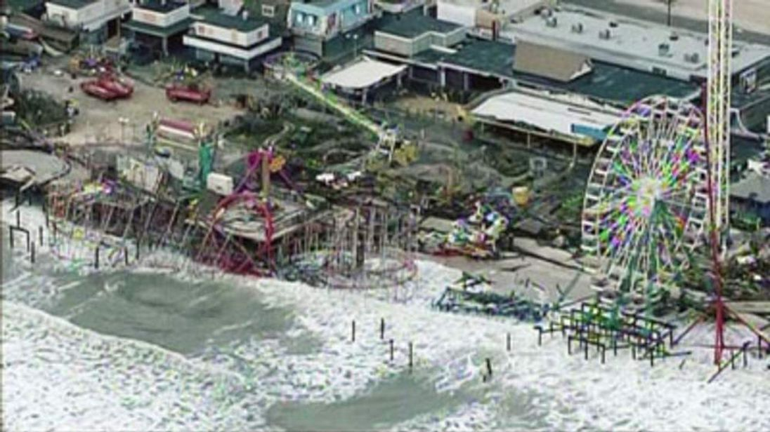Fairground in New Jersey after it is battered by superstorm Sandy.