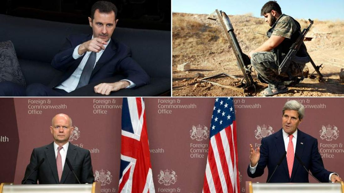 Bashar al Aassad, a Free Syrian Army Fighter and (bottom, L-R) William Hague and US Secretary of State John Kerry