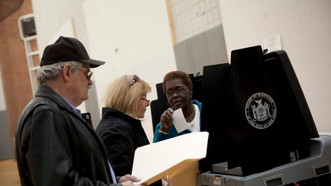 US election: New York man waits to cast his vote