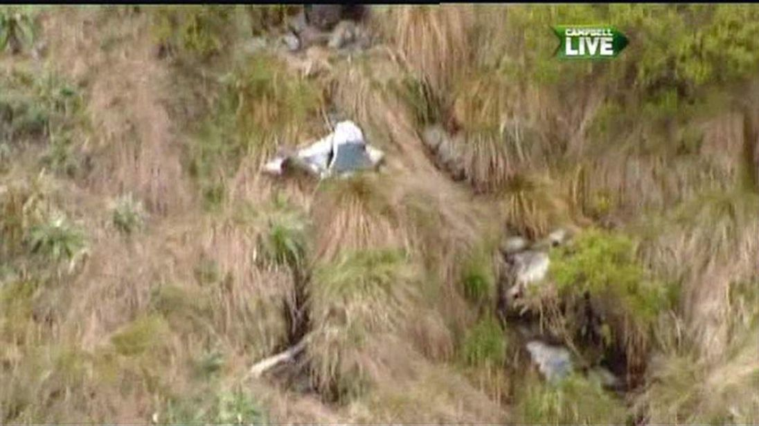 Wreckage of the helicopter spotted by an NZ pilot