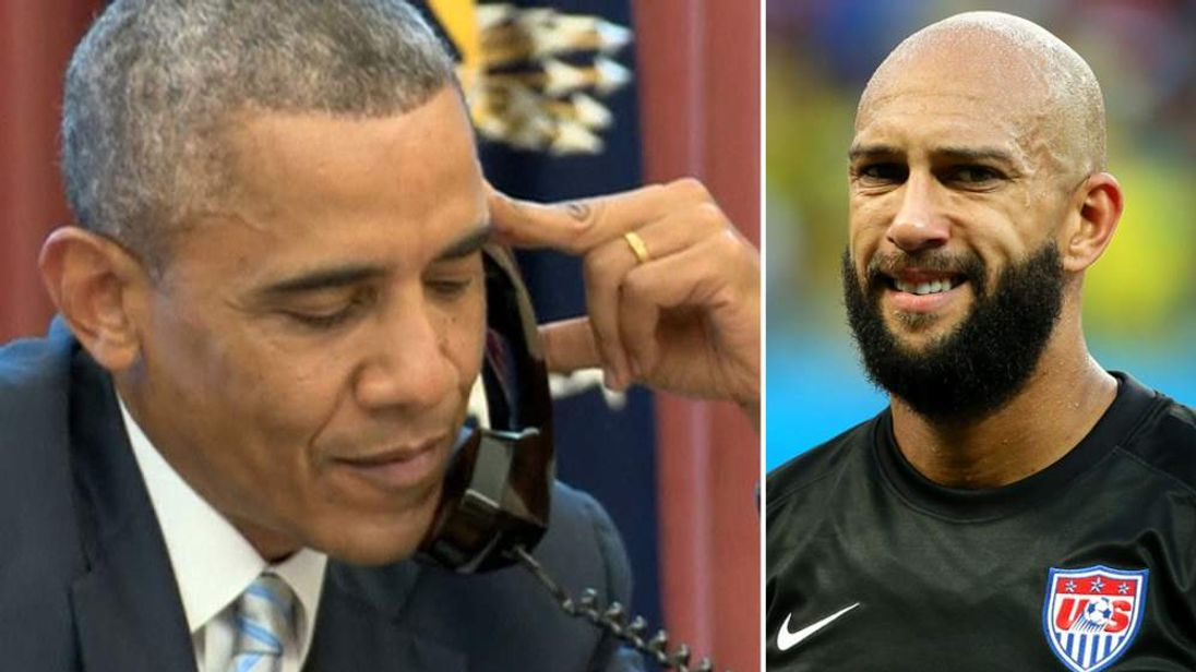 Barack Obama And Tim Howard