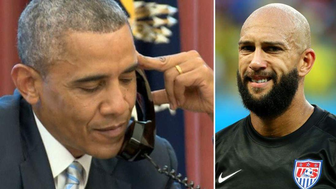 Barack Obama And Tim Howard