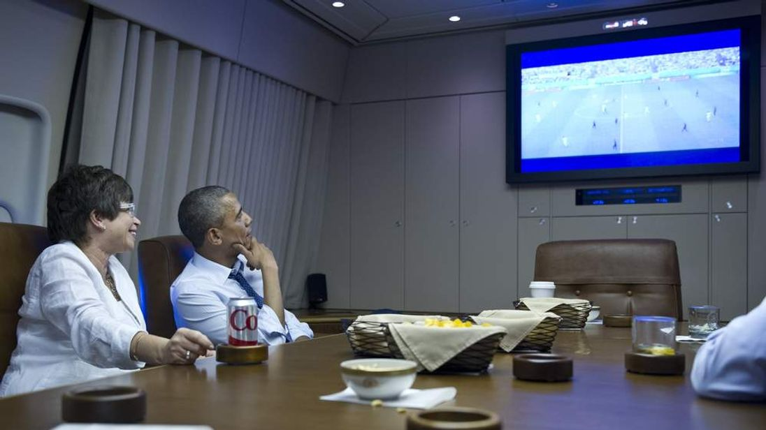 Obama Watching World Cup Game Aboard Air Force One