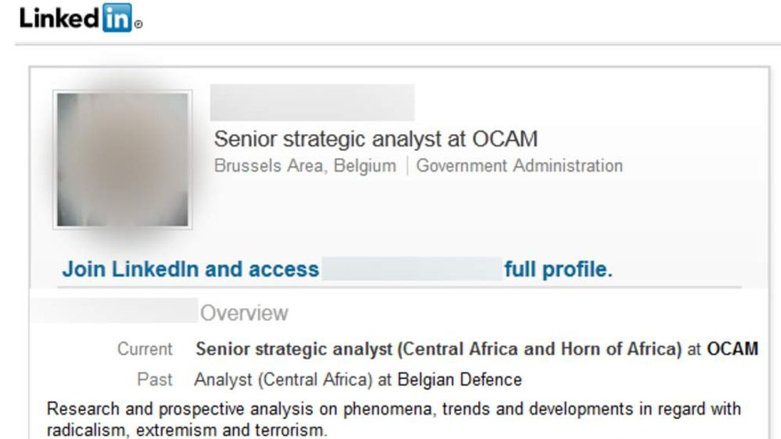 One of the profiles on LinkedIn