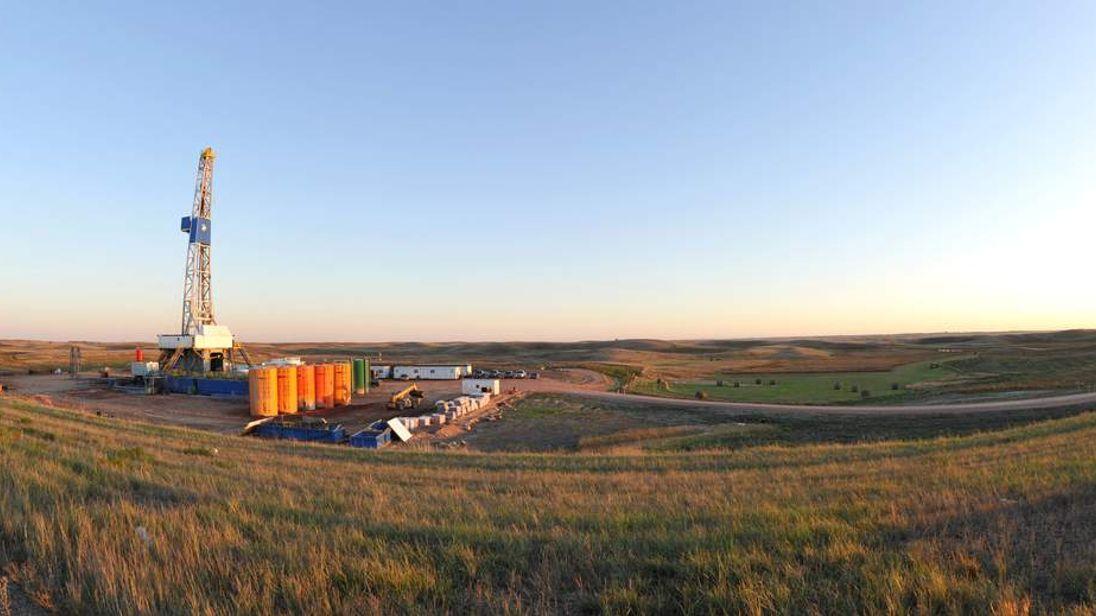 An oil drilling rig is seen September 29, 2010 near Stanley, North Dakota.