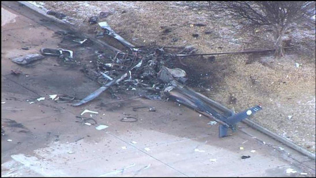 Medical helicopter crash kills 2, injures 1 (Credit: KWTV-TV)