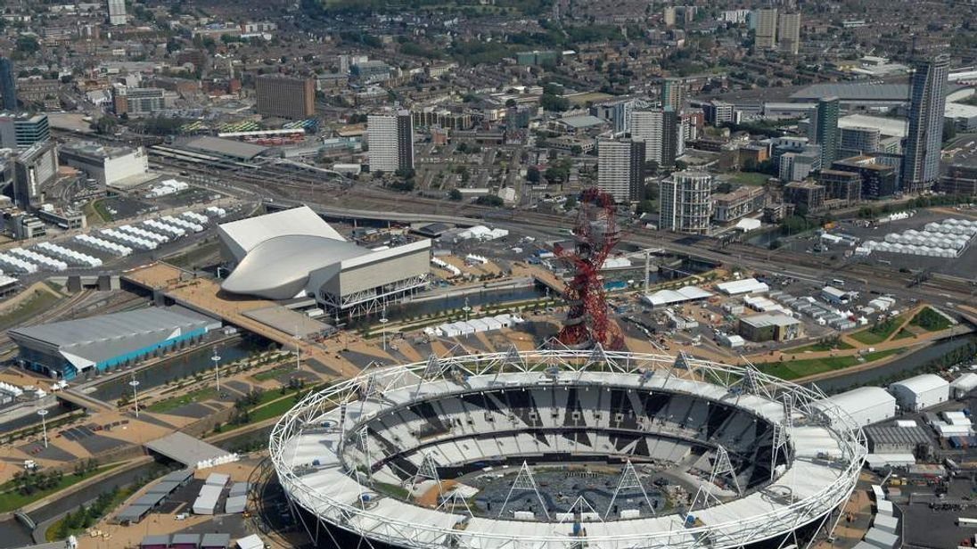 Aerial view showing the Olympic Stadium in Olympic Park, London